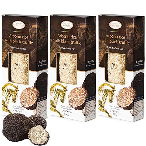 Arborio Risotto Black truffle Rice Gourmet Arborio rijst met zwarte truffel Tuber Aestivum Rijk aan antioxidanten, vezels, 3 x 250 g