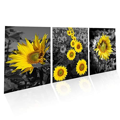 Stampa Artistica Canvas,3pezzi Stampa su tela Quadri su tela Quadri di girasole per soggiorno di...