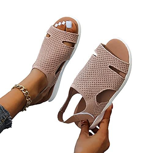 MIAOFA Sandalias de Moda de Verano para Mujer Zapatillas de Playa Planas Casuales con diseño de Correa en el Tobillo,Marrón,39