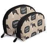 Bolso cosmético Bulldog francés para Perros y mariscos Bolsas de Almacenamiento portátiles con Forma de Concha Bolsa de Aseo de Viaje (Incluye 2 Bolsas)