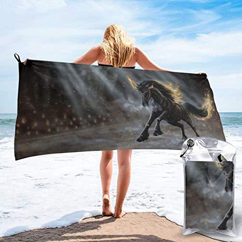 Toalla de secado rápido de microfibra Animal Negro Unicornio Super Absorbente Toallas deportivas de secado rápido para viajes al aire libre, playa, gimnasio, camping, mochilero 31.5 × 63 pulgadas