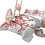 Bedspread Coverlet Set Floral Luxe Bedding 3 Piece Oversized Quilted Bedspread Coverlet Set Japanese Cherry Blossom Sakura Blooms Branch Spring Inspirations Print Queen Size Vermilion Brown White