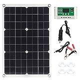 Cargador de panel solar, tablero de carga solar portátil, controlador solar, paneles solares semiflexibles de 16.6 x 11.1 pulgadas con cargador para plantar farolas solares