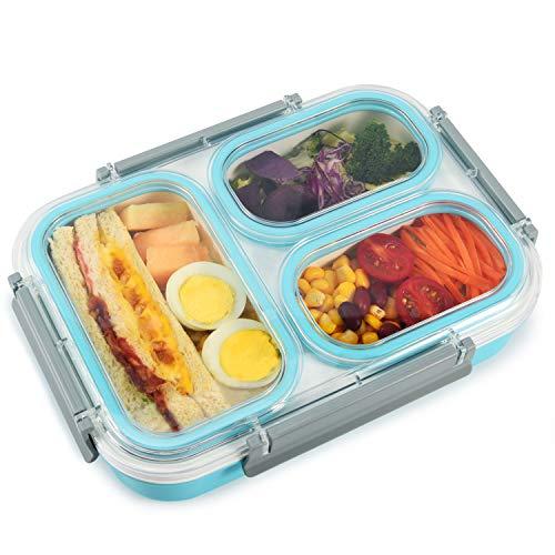 Lupantte Bento Box für Kinder und Erwachsene, 1,3L Auslaufsichere Lunchbox mit 3 Separat Fächern, BPA-Freier Brotdose für Büro & Schule, Geeignet für Mikrowellen, Spülmaschinen und Gefrierschrank