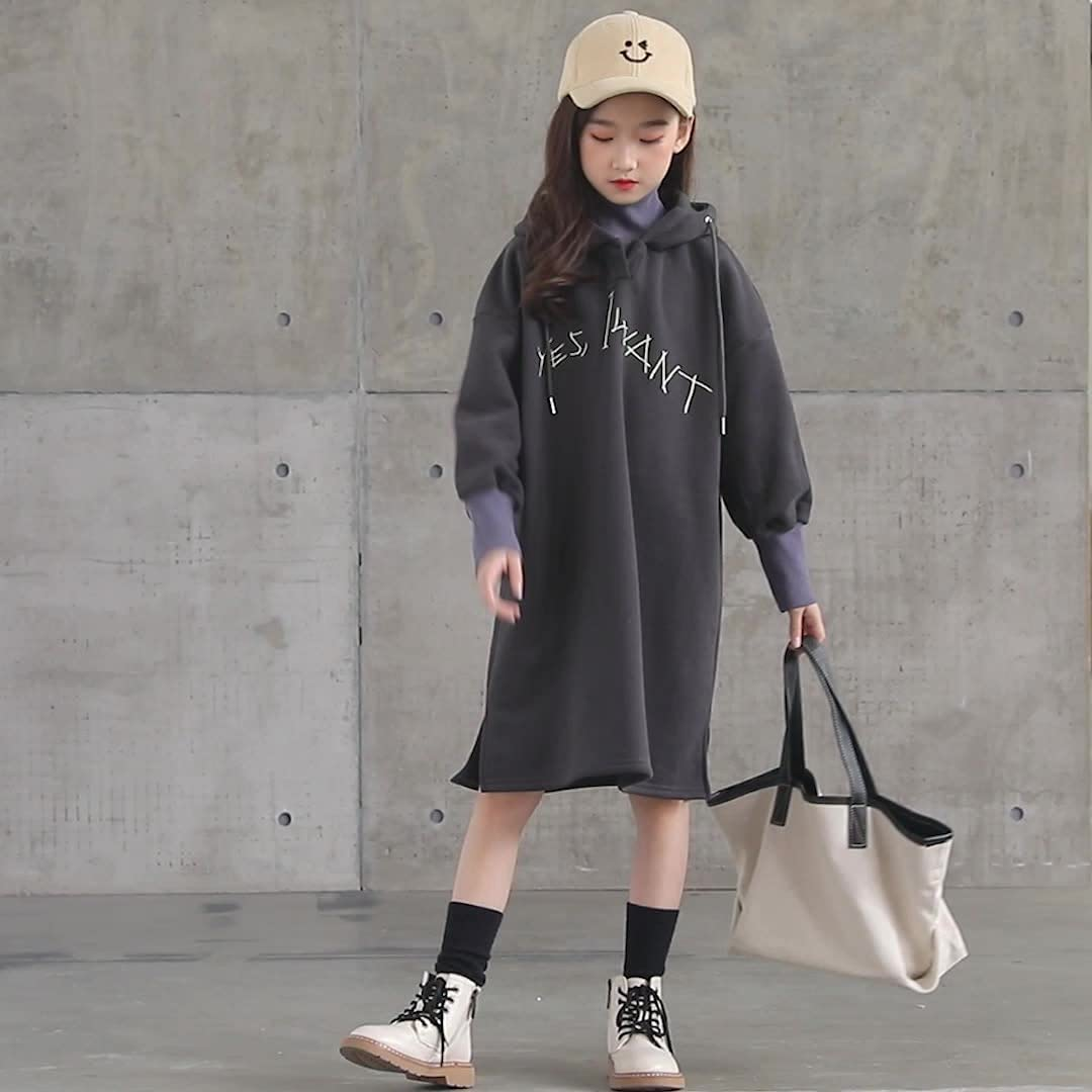 CAOMING Girl Plus Velvet Thickening High Collar New popularity Hooded Recommended Mid-Lengt