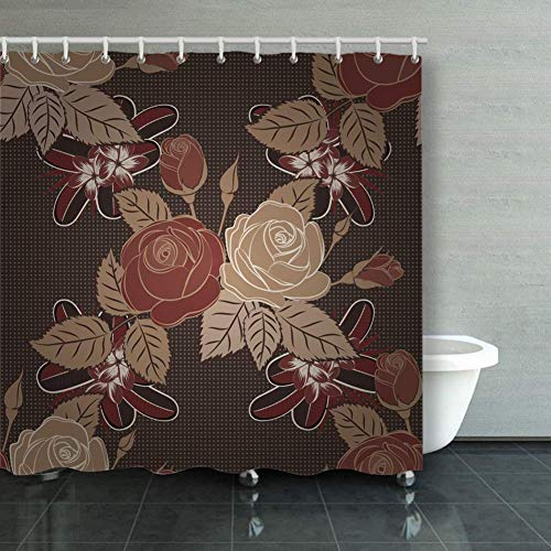 BGNHG Cortina de la Ducha Shower Curtain Vintage Dog Rose Pattern Flow