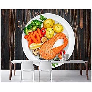 Customer reviews YUANLINGWEI Fish - Food Vegetables Plate Food Photo Wallpaper Fast Food Shop Restaurant Kitchen Murals,270Cm (H) X 350Cm (W)