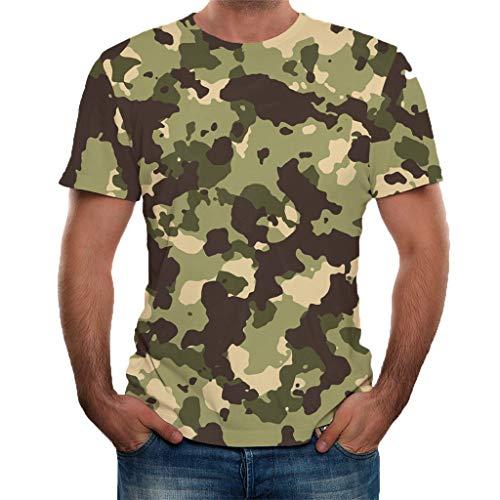 Camiseta de Manga Corta para Hombre Personalizadas Moda 3D Estampado Camuflaje Cuello Redondo Slim Fit T-Shirt de Verano para Amantes Deportivos Casuales MMUJERY