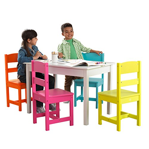 KidKraft Wooden Table and 4 Chair Set, Children's Furniture, Brightly Colored - Highlighter, Gift for Ages 3-8