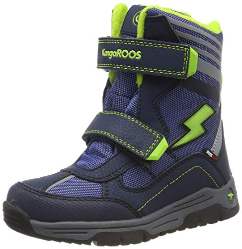 KangaROOS Unisex-Kinder Snow Flash Boys SL Schneestiefel, Blau (Dk Navy/Lime 4054), 28 EU