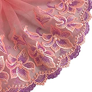 MOPOLIS Embroidered Floral Tulle Lace Trim Fabric Ribbon Scalloped Edge Bridal SewingDIY | Color - #10Flower 21cm Wide