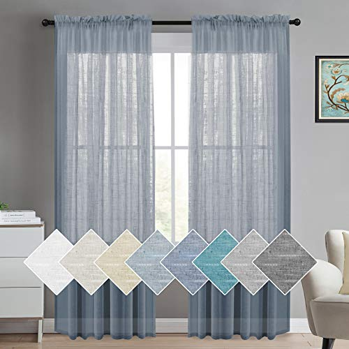 Turquoize Natural Linen Sheer Curtains Soft Semi Sheer Curtain Panels for Bedroom Linen Window Curtains Energy Efficient Semi - Sheers Linen Curtains Window Treatments Panels/Drapes (2 Panel, Denim)