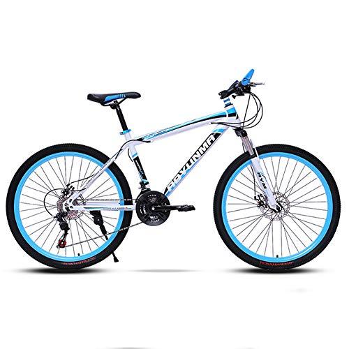 26in Acero Al Carbono Bicicleta De Montaña Hombre,Velocidad Bicicleta Suspensión Delantera Bicicleta Urbana,MTB Frenos De Doble Disco Azul-24in 21 Velocidad