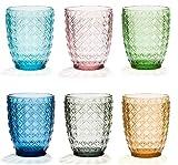 Bicchieri Acqua Colorati In Vetro, Lavabili in Lavastoviglie, Tumbler Colorati Vetro modello HERITAGE mix 6 Colori, Blu , Azzurro, Rosa, Grigio, Giallo, Verde