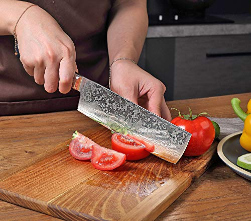 Chef Nakiri Usuba Knife Damascus Steel 8 Inch High Carbon 67 Layers VG 10 Damascus Gyutou Kitchen Knives with Resin Honeycomb Design Handle-BIGSUN (7 Inch Nakiri knife)