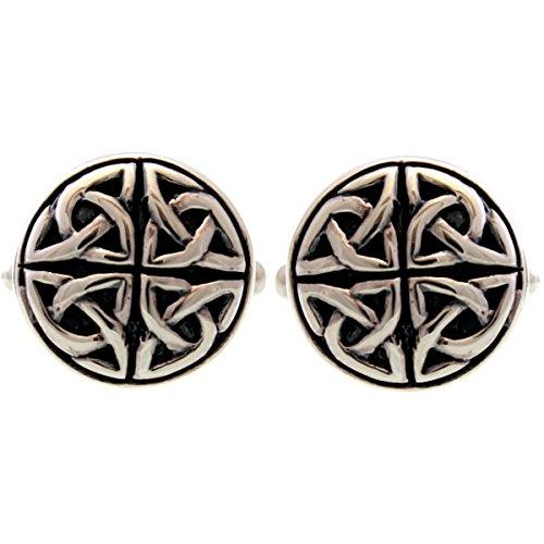 Manschettenknöpfe Keltisch Sterling-Silber 925, rund, mit Geschenkbox