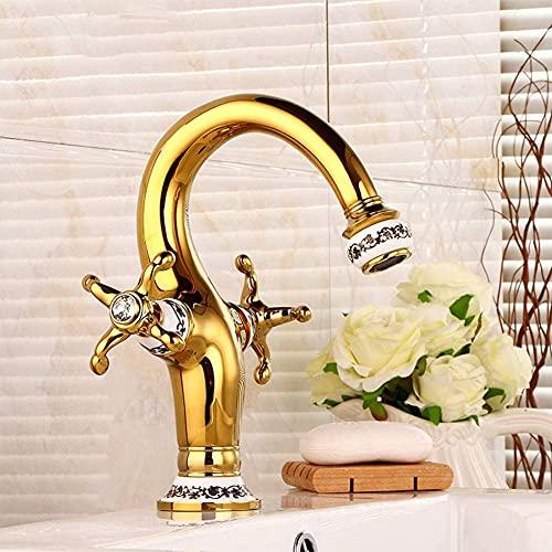 Grifo Mezclador De Lavabo Antiguo Dorado, Grifo De Baño De Latón, Apto para Baño Y Fregadero, Grifería De Lavabo De Dos Manijas,Oro