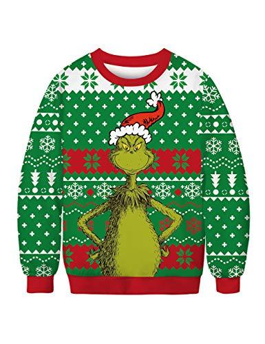 Leezeshaw Unisex 3D Weihnachten Adventure Time Pullover Sweatshirt Hoodie Herren Lustig Xmas Elf The Grinch Gedruckt Langarm T-Shirt Jumper M-XXL Gr. XX-Large, Der Grinch a