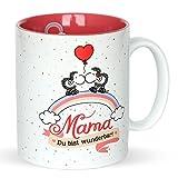Sheepworld 45233 Tasse mit Motivdekor 'Mama - Ich hab Dich lieb! Du bist wunderbar!', Geschenktasse aus Steinzeug, 35 cl