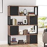 Tribesigns Librería, gabinete industrial de 4 niveles para sala de estar con 4...