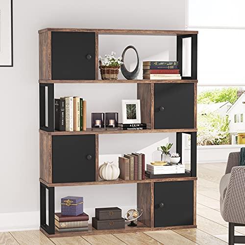Tribesigns Librería, gabinete industrial de 4 niveles para sala de estar con 4 puertas y estantes abiertos, organizador de almacenamiento vintage de madera para el hogar y la oficina