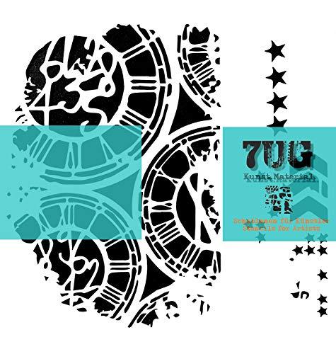 7UG Schablone Uhr, Uhren, Clocks, 13 x 13 cm, für unzählige Anwendungsmöglichkeiten in Kunst und Hobby