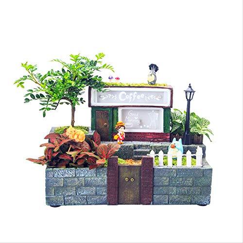 LBYLYH Sierplanten Bloempot Sieraden Creatieve Persoonlijkheid Boomhuis Multi-Vlees Bloempotten Met Licht Micro-Landschap Kleine Potten Ornamenten