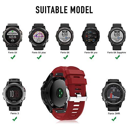 Supore Compatible with Watch Band for Garmin Fenix 5X/Fenix 6X, Soft Silicone Replacement Watch Band Strap for Garmin Fenix 3/ Fenix 5X Plus/Fenix 6X pro/Fenix 6X Sapphire Smartwatch