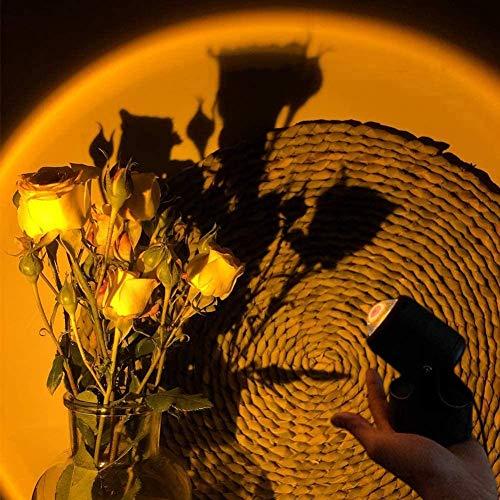 Proyección de la puesta de sol LED, Proyección de la puesta de sol Luz LED, Lámpara de proyección Rainbow Rotación, Luz de LED Visual Romántico, Red Luz roja con USB Moderno Soporte Noche Luz de Luz d