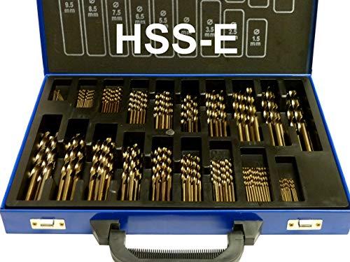 PeTools, 170-tlg. Edelstahl-Bohrer HSS-E (1-10mm) Kobalt Cobalt (Co5) Spiral-Bohrer VA mit Kreuzanschliff, Metallbohrer, Stahlbohrer