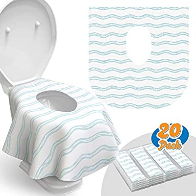 Toilet Seat Covers Disposable - 20 Pack - Waterproof, Ideal for Kids and Adults – Extra Large, Individually Wrapped for Travel, Toddlers Potty Training in Public Restrooms (Waves, 20) by Relyo
