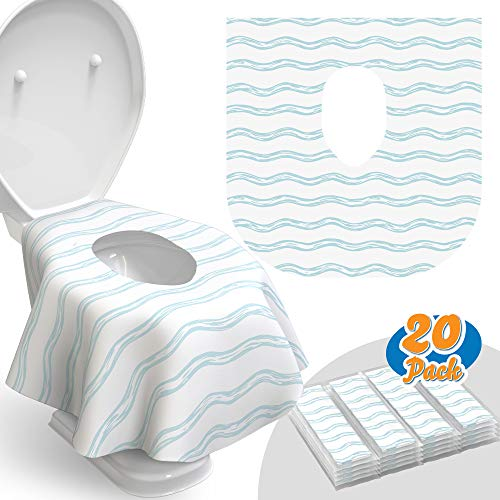 Toilet Seat Covers Disposable - 20 Pack - Waterproof, Ideal for Kids and Adults – Extra Large, Individually Wrapped for Travel, Toddlers Potty Training in Public Restrooms (Waves, 20)