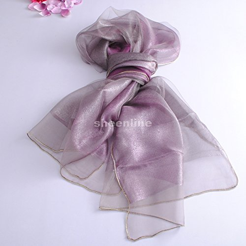 YRXDD Doppel Seide Schals Damen Frühjahr und Herbst Seidenschal,Violette Farbverlauf Grau