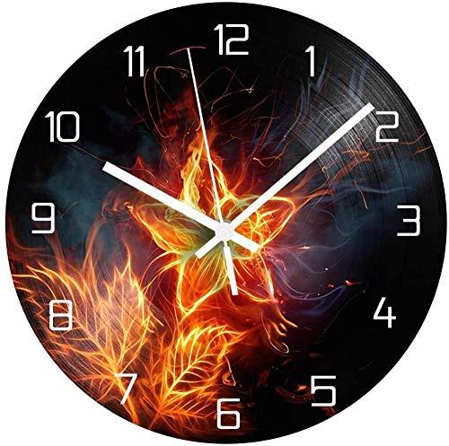 XXNZZJ Co.,ltd Blumenwanduhr Vintage Schallplatte CD-Uhr + Silent Clock Mechanismus Shabby Chic Wanduhr Home Decoration 30x30cm