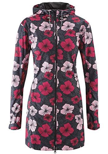 Maier Sports W Bloomy Coat Übergrösse Schwarz, Damen Regenjacke, Größe 48 - Farbe Black - Red Allover