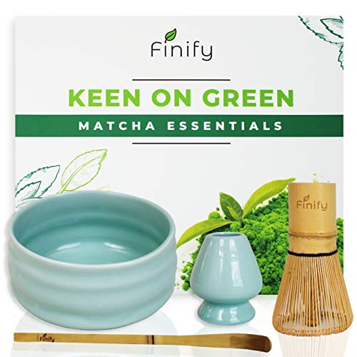 Finify – Matcha tea set blue – Green powder ceremony – Authentic bamboo whisk and scoop – Ceramic drinking bowl and whisk holder – Tea gift whisk set