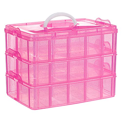 SGHUO 3-Tier Pink Craft Storage Container Box, Stackable Organizer Box with Dividers for Art Supplies, Fuse Beads, Washi Tapes, Beads, Hair Accessories, Nail, 9.5X6.5X7.2inch