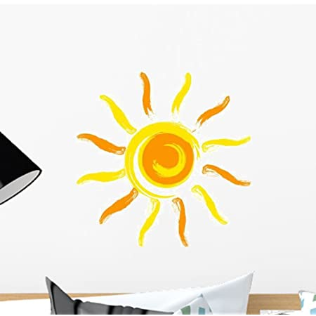 Wallency Happy Sun Wall Art Decal Peel and Stick Removable Vinyl Sticker Graphic 12H x 12W - Mini