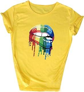 MogogNWomen T-Shirt Casual Loose Floral Lips Print Blouse Top