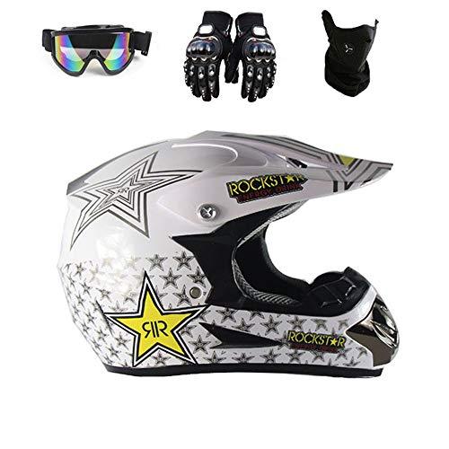 Motocross Helm Schutzbrille Handschuhe Maske Erwachsenen Motorrad ATV Off Road Helm MTB Unisex Integralhelm D.O.T Certified Rockstar,TK03,M57~58