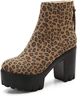 599-1 Women's Leopard Ankle Boots Chunky Heel Platform...