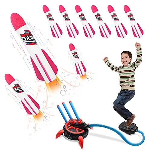 WORKER Juguete Cohete de Aire Lanzador con 6 Espuma de Cohetes de Salto Niños Y Niñas, Juguetes al Aire Libre Juguetes de Juegos de Jardín, Regalo para Nniño Niña de 3 a 12 años