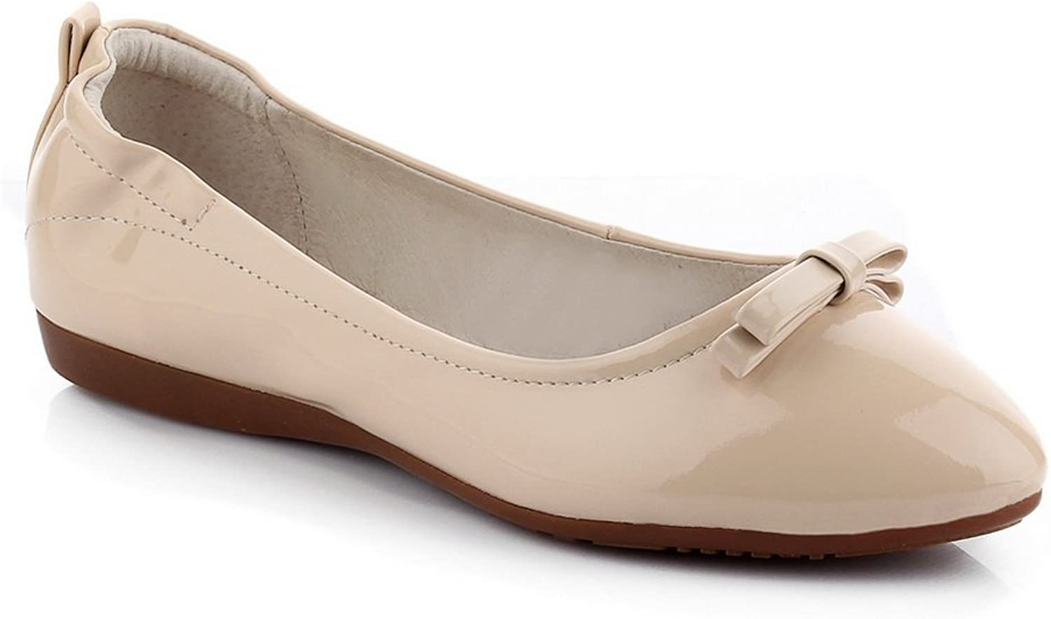 AdeeSu Womens Bows Pull-On Solid Urethane Flats-shoes