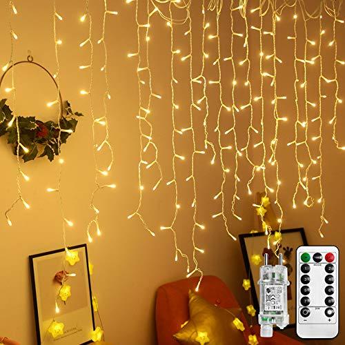 UISEBRT LED Lichterkette Lichtervorhang 15m für Außen Innen - 600 LEDs Warmweiß Lichterkettenvorhang mit 8 Modi, IP44 Wasserfest für...