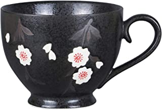 Asmwo Large Black Soup Bowl Mug Unique Elegant Japanese Ceramic Coffee Mugs Tea Cup for Women 14 oz