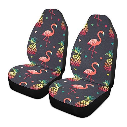 Cute Rainbow Pineapple Flamingo Heart - Juego de 2 fundas para asientos de coche, asientos delanteros, solo para coches, manta de sillín delantero, ajuste universal para vehículos, sedán, SUV y camio