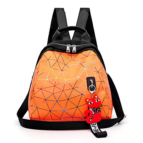 VICTOE Fashion Wild Weibliche Tasche Qualität Shell Diamond Candy Farbe Klein Rucksack Farbe Hell Persönlichkeit Streifen Rucksack Langlebig Reise Rucksack, Orange (Orange) - VICTOE-8623