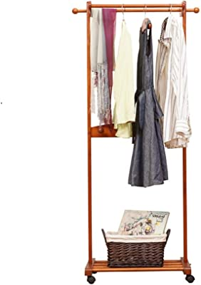 Amazon.com: Homfa Bamboo Clothes Rack on Wheels Rolling ...