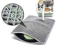 pecute Cat Litter Mat 60x42cm, Square Large Hole Cat litter Trapper Waterproof NonSlip Dual Layer Tr...