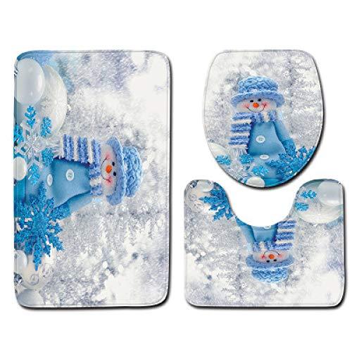 Moderno Y Simple Muñeco De Nieve Navideño Poliéster Cortina De Ducha Impermeable Baño Antideslizante Alfombra De Piso Sala De Ducha Lavable A Máquina Traje De Cuatro Piezas